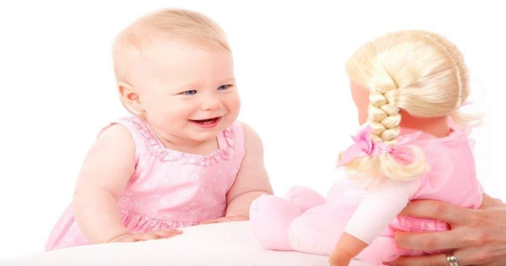 Happy baby with doll - cover pic soft dolls for toddlers