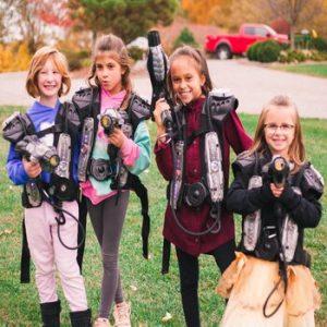children playing laser tag gun